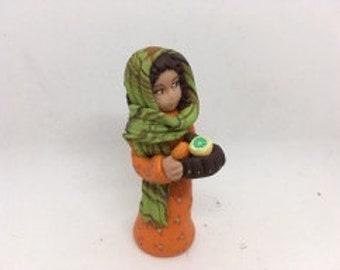 Nativity Santon woman with fruit