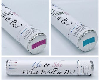 """2 - 12"""" CONFETTI CANNON! Ships Same Day! Gender Reveal Confetti Cannon Perfect Gender Reveal Ideas"""