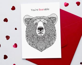 Sarcastic Valentine Card | 'You're Bearable' Funny Valentine Card | Cynical Valentine Card | Card for him | Anti Valentine