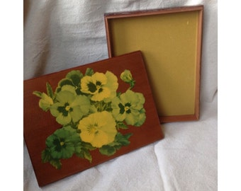 Vintage Wood Decoupage Pansy Flower Letter Box - Jewelry Trinket Box Retro