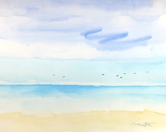 Original Beach Watercolor, Seascape Painting, Ocean Watercolor, Seascape Watercolor, Ocean Art, Ocean Painting, Beach Decor, Beach Painting