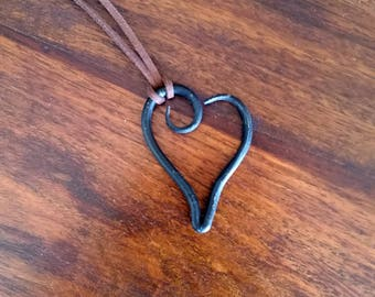 Hand forged heart necklace