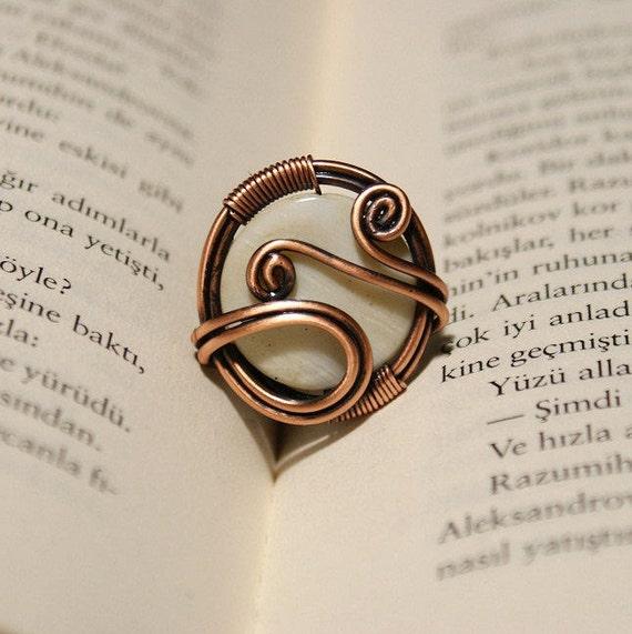 Draht umwickelt Ring Kupferring Mutter der Perle Ring