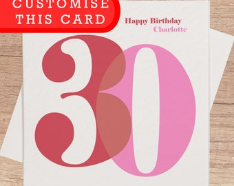 30th Birthday Card for Her | Personalised 30th Happy Birthday Cards Custom 30 Card for Girlfriend Friend Mum Wife Fiancee 30th Birthday Gift