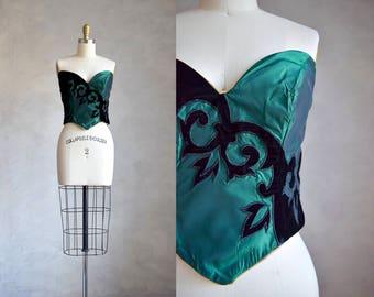vintage velvet trim bustier | 1980s 90s corset style bustier | black and green sweetheart neckline bustier top