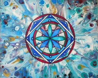 Original acrylic painting, sacred geometry mandala, abstract, flow, pour,green blue, wall decor home art