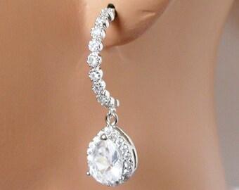 Jewel Half Round Wedding Earrings,  Rhinestone Bridal Earrings, Bridesmaids Earrings, Crystal Earrings