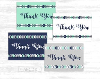 Tribal Thank You cards Mint Navy Woodland Deer arrows Party Thank You cards Thank You notes Birthday party Baby shower (PDWSI501)