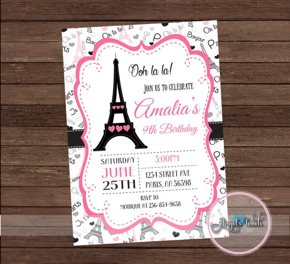 Paris party invitation paris birthday party invitation paris pink paris party invitation paris birthday party invitation paris pink and black invitation paris invitation digital file filmwisefo