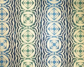 Retro Wallpaper by the Yard 70s Vintage Wallpaper - 1970s Gold Geometric Stripes on Dark Blue and Green