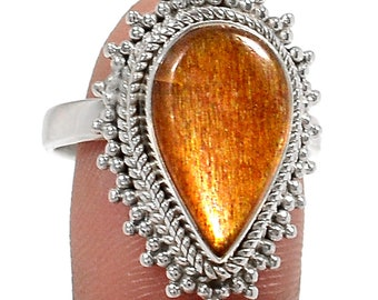 Golden Sunstone 925 Sterling Silver Ring Jewelry s.9