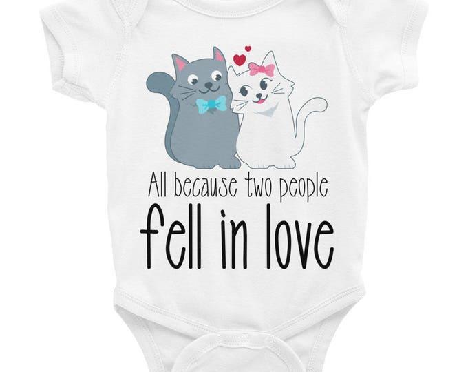 All Because 2 People Fell In Love Bodysuit, Cute Baby Onesie® Funny Baby Onesie, newborn gift infant clothes, Baby clothes cute baby onesies