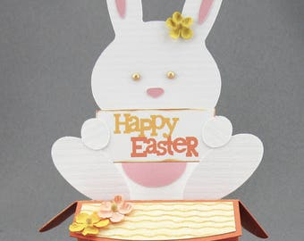 Handmade Orange Bunny Easter Box Card