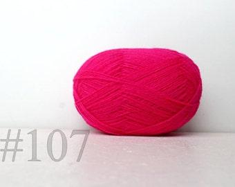 WOOL yarn 100%-Wool for knitting, crochet - neon pink #107