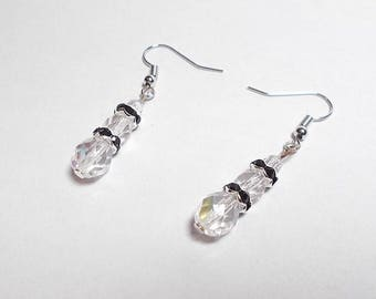 Dangling earrings faceted Czech crystal AB, black rhinestones