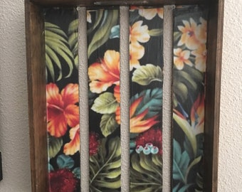 Stained wood shadow box wall hanging
