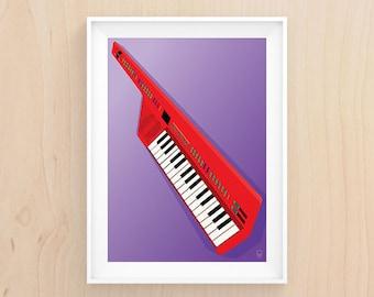 Keytar My Heart - Illustration - Printable Art