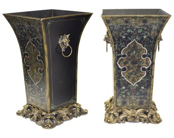 Gold and Black Planters, Set of 2