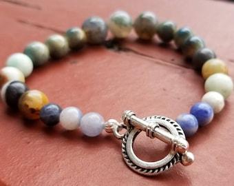 Stony beach inspired beaded bracelet