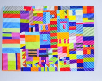 Quilt Postcards - Postcard for Framing - Quilt Art Print - Postcards Thank You - Abstract Art Print- Improv Quilt - Quilt Art - Colorful Art