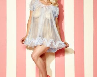 Pastel Sugar Candy Babydoll sheer vintage style nightie ruffles puff sleeve