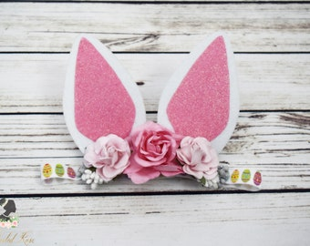 Handcrafted Sparkly White and Pink Easter Bunny Ears Headband - Toddler Easter Headband - Big Rabbit Ears Hair Accessory - Baby Girl Spring