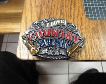 I Love Country Music Belt Buckle. Siskiyou Buckle Co.