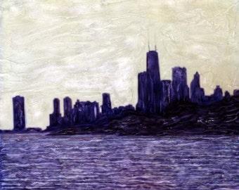 Purple Chicago Skyline Polaroid SX-70 Manipulation - 8x8 Fine Art Photograph