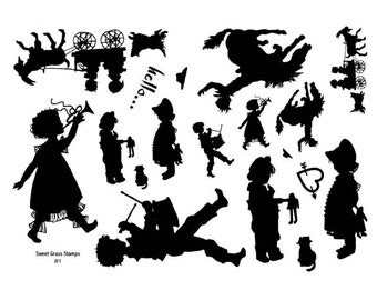 Stamp Sheet, Children Silhouettes, goat, horse, bronco, drummer, band, Sweet Grass Stamps No.1
