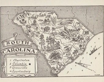 50's Vintage SOUTH CAROLINA Picture Map State Map Print Black and White Gallery Wall Art Office Decor Gift for Traveler Birthday Wedding