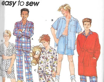 Simplicity 8794 Boys & Teen Boys Easy To Sew Pajamas, Robe And Belt Sewing Pattern, Size 12-16, UNCUT