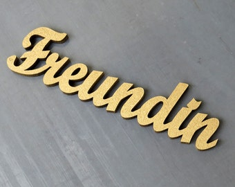 Freundin - wood lettering size M