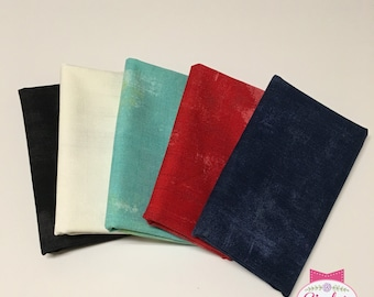 Grunge Basics 5 FQ Fat Quarter Bundle Moda Cotton Quilt Fabric Black White Red Blue