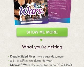 "5 x 7 in Water Wars Flyer Design, Party Flyer Design, Flyer Template, Double Sided Brochure, Word Flyer Template, Printable Flyer 5""x7"""