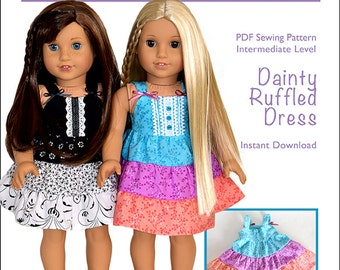 Pixie Faire Pink Ladybug Fashions Dainty Ruffled Dress Doll Clothes Pattern for 18 inch American Girl Dolls - PDF