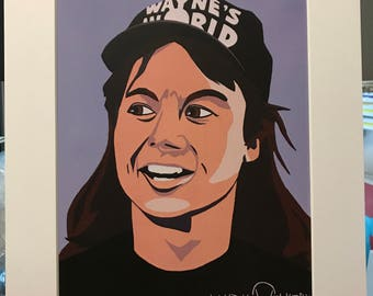 "11x14 Limited Edition Hand Signed MATTED PRINT ""Wayne's World"" - Mike Myers Wayne Campbell Pop Art - 1990's SNL comedy movie"