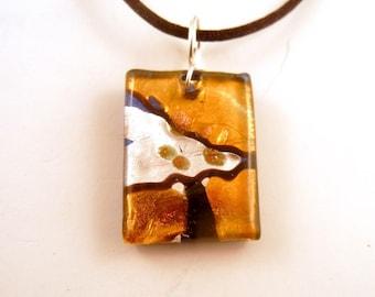 Lampwork  Pendant silver foil pendant orange