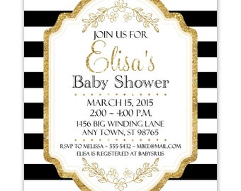 Black and Gold Baby Shower Invitation, Black Stripes, Gold Accent Baby Shower Invite, CUSTOM 4x6 or 5x7 size, YOU Print
