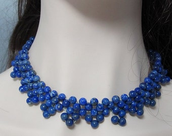 natural Lapis Lazuli and 925 Silver 17 inch Necklace