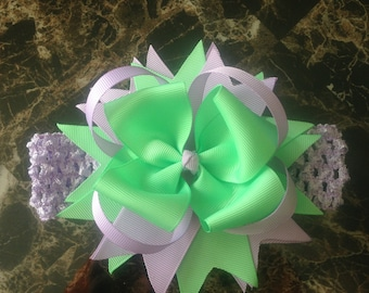 Spring mint green/lilac Baby Bow