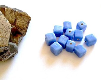 LAST SET! Set of 10 molded from India and ring-spun glass beads, blue squares