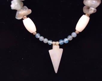 Agate Necklace With Quartz Arrowhead Pendant Native American Made