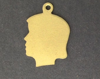 Solid Raw Brass Girl Silhouette Charm with Loop (6) chr211B
