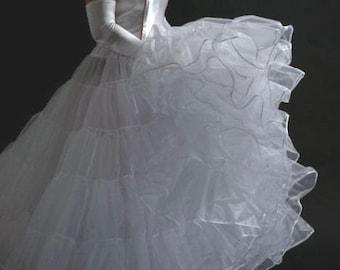 White Crinoline petticoat floor length, wedding dress long slip fullness ivory