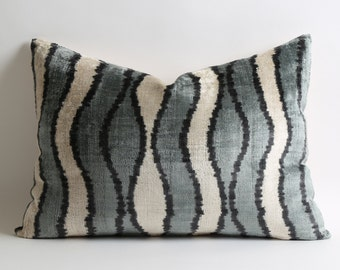 Ikat Velvet Pillow Cover, Uzbek Ikat, Cream Gray Pillow, Velvet Pillow, Decorative Throw Pillow Cover Accent Velvet Lumbar Pillow