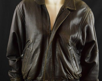 Classic Bomber Biker Motorcycle Leather Jacket - Leather Jacket Golden Collection by Raffaelo - Size 46 XL