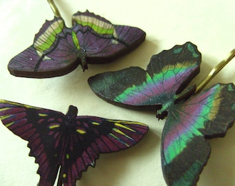 Purple and green, wooden butterflies, hair slides, set of three,butterfly, butterfly hair pins, bobby pins, by Newellsjewels on etsy
