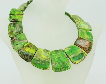 Stunning green sea sediment jasper necklace to DIY great colors