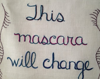 Mascara Miracle, Tapestry, Original Art, Hand Embroidered, Mascara Art, Cosmetic Decor, Makeup Gift