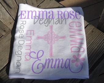 Personalized Baptism Blanket with Cross - Monogrammed Baptism Blanket for Girls - Custom Name Christening Blanket - Religious Baby Blanket